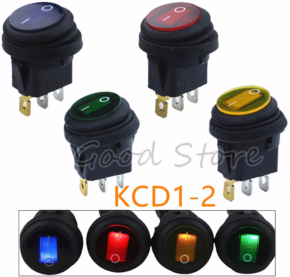 1pcs On/Off 12V DC 25A 220V AC 6A Rocker Switch IP65 Waterproof 3Pin SPST LED Illuminated Hot Sale Low Price Light Switch FY