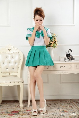 2018 new Japanese school uniforms sailor tops+tie+skirt Navy style Students clothes for Girl Plus size Lala Cheerleader clothing