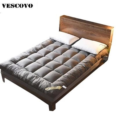 Duck/Goose Down Mattress Hotel Quality Cotton Mattress Pad Plush Durable Feather Bed Topper King Queen Twin Size