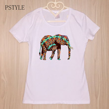 3fab4ffff76d64 Pstyle 2019 Women s Tshirt Short Sleeve Elephant Printed Vintage Art Style T  shirts Summer Casual Modal Tee Top Plus Size S-3XL