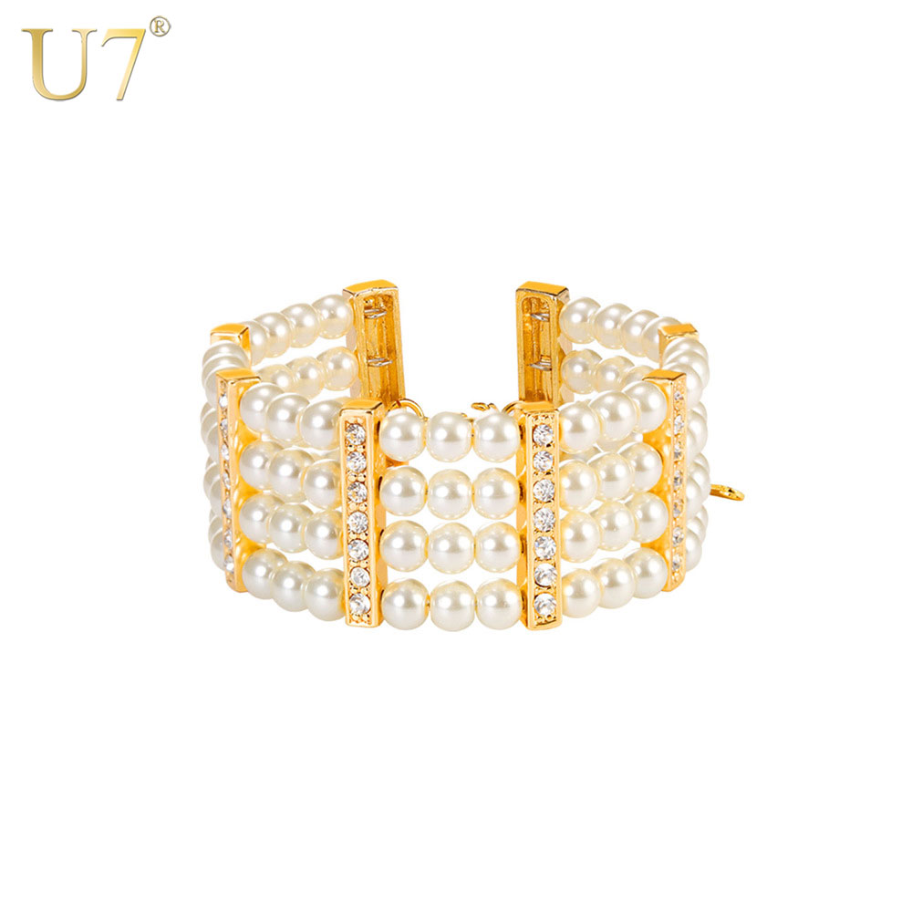 U7 Synthetic Pearl Beads Bangle Bracelet For Women Multi-layer Rhinestone Bracelests Fashion Wedding Jewelry H1020