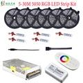 30 M 5050 RGB tira de LED impermeable diodo cinta de luz 10 M 25 M 20 M 15 M + 2,4G RF RGB controlador amplificador DC12V fuente de alimentación Kit completo
