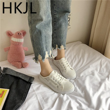 HKJL Fashion Little white shoes ladies spring 2019 new Korean version all-in-one baotou heelless canvas flat loafers A518