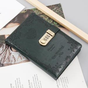 Image 5 - A5 password lock notebook 4 colors retro gold lock girl thickening personal diary book with lock office password book custom