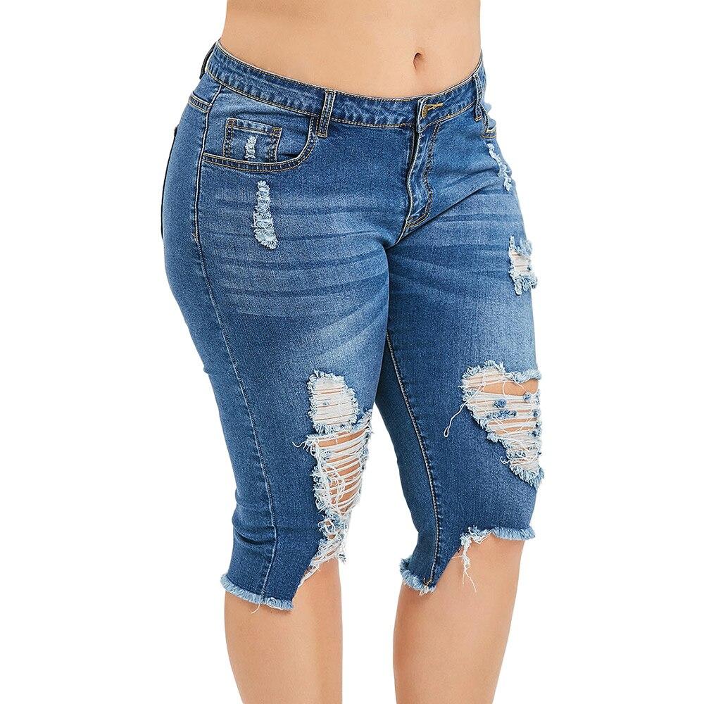 Fashion Plus Size 5XL Midi Waist Boyfriend Capris Jeans Mom Women Straight Ripped Distressed Denim Cropped Pants Big Size 4XL