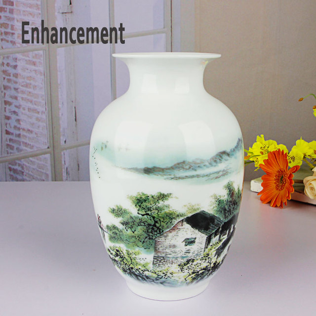 Vintage Ceramic Vase Home Decoration Chinese Rivers And Mountains