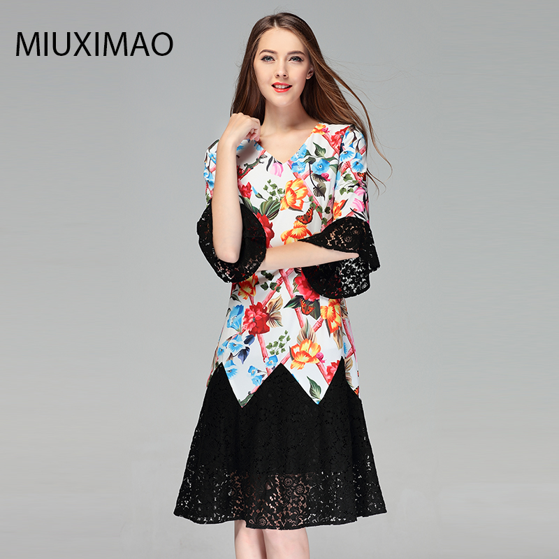 2018 High Quality Spring amp Fall Newest Cute Style Dress 3 4Sleeve V neck Elegant Trumpet Fishtail Lace Long Dress Women in Dresses from Women 39 s Clothing