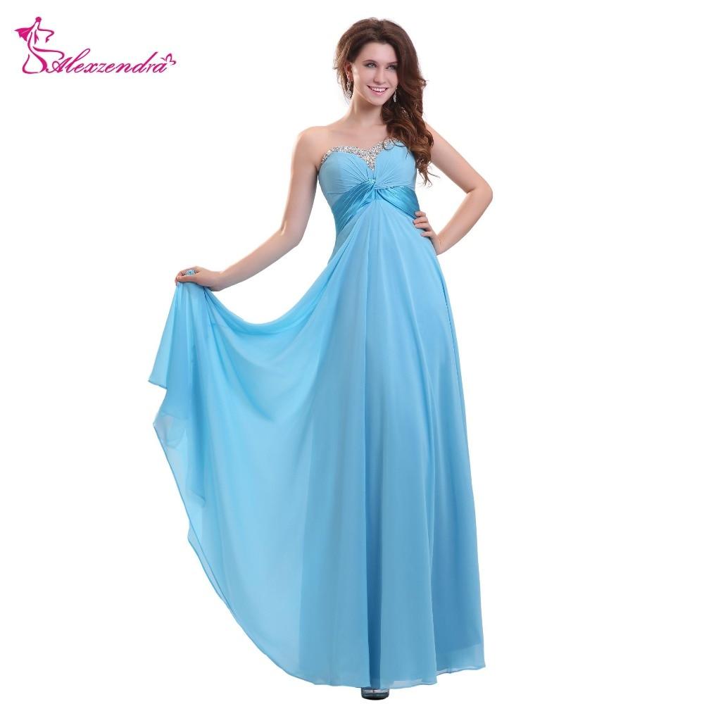 Alexzendra A Line Chiffon Long   Prom     Dresses   Simple Beaded Sweetheart Party   Dress   Plus Size