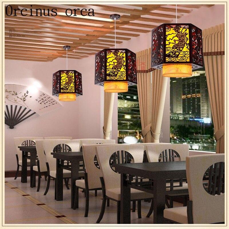 Китайский стиль антикварная овчины люстра бар ресторан проход твердой древесины люстра бесплатная доставка