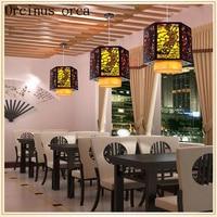 Chinese style antique sheepskin chandelier restaurant bar restaurant aisle solid wood Chandelier free shipping