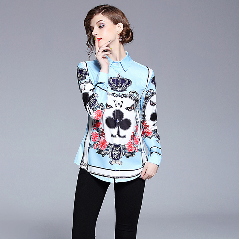 New Fashion Designers Wome Blouses Long Sleeve 2018 Ladies Elegant Print Blouses and Shirts Plus Size Womens Tops Office Blusas