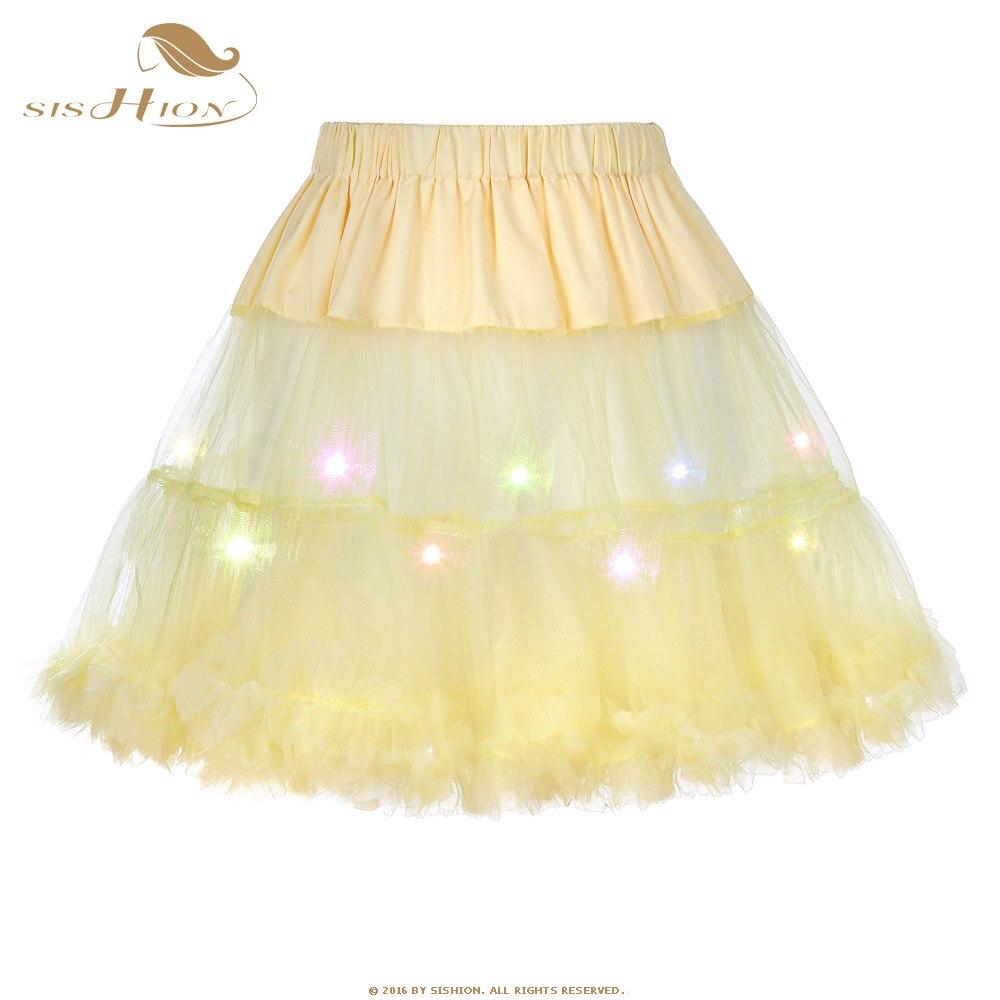 SISHION Tulle Skirts Fashion High Waist Pleated Tutu Skirt Colorful LED Petticoat Crinoline Underskirt Party Women Skirt Yellow
