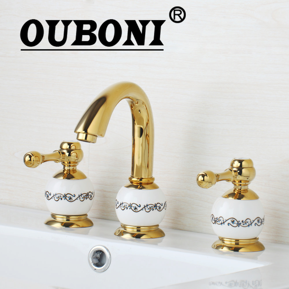 OUBONI Ceramice Deck Mount Golden Spray 3 Pieces Shower Bathroom Wash Basin Sink Brass Bathtub Torneira Tap Mixer Faucet ouboni 3pcs set bathtub luxury golden plated bathroom faucet european split basin mixer tap ceramic faucet body cross handles