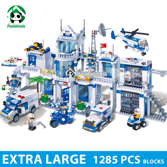 Extra Large Police Station 1285Pcs Building Blocks City Police Educational Toys for Children Kids Gift Toy Bricks Construction 6727 city street police station car truck building blocks bricks educational toys for children gift christmas legoings 511pcs