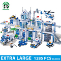 Extra large comisaría 1285 unids bloques de construcción de juguetes educativos para niños bloques de juguete de policía de la ciudad compatible con ladrillos lego
