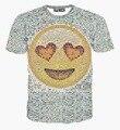 Homens do estilo Harajuku t-shirt engraçado imprimir big cara do sorriso e pequeno Emoticons hip hop t camisa frete grátis