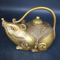 Chinese carved Brass Teapot pot mouse