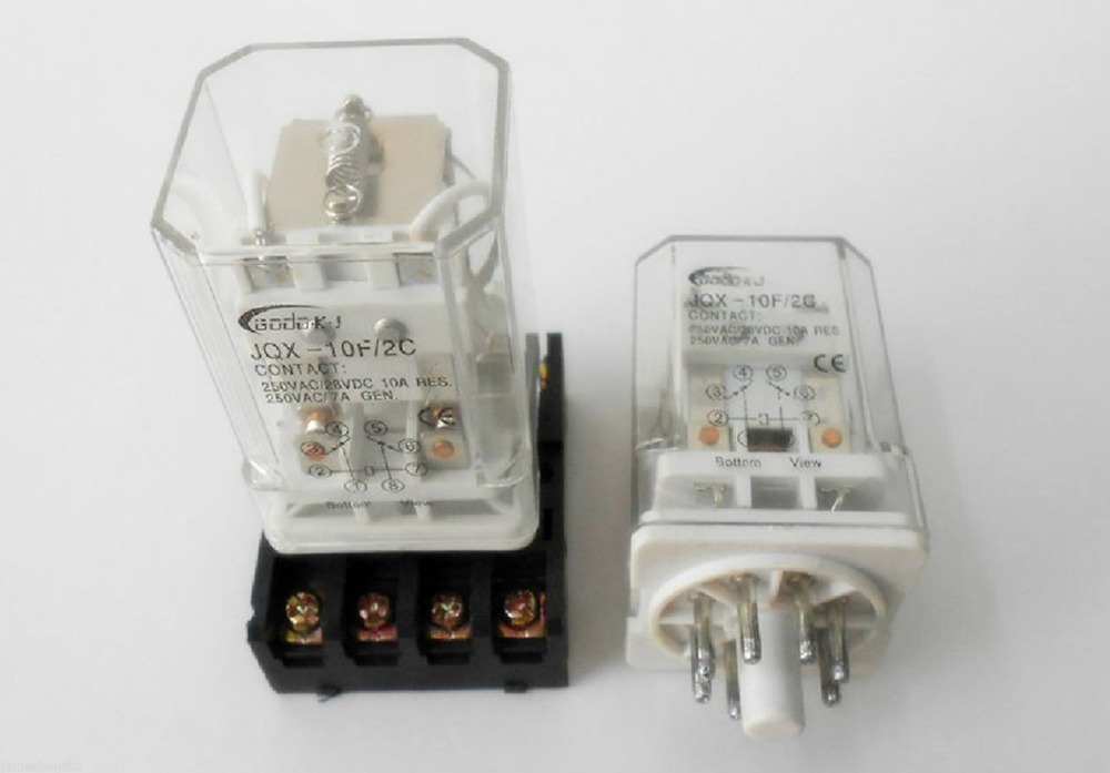 JQX 10F 2Z 10A DC 12V 8 Pin Coil Electromagnetic Relay+Socket Base ...