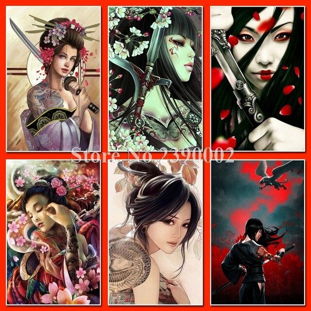 5d diamond embroidery japan geisha samurai diy diamond painting pictures full diamond mosaic needlework canvas