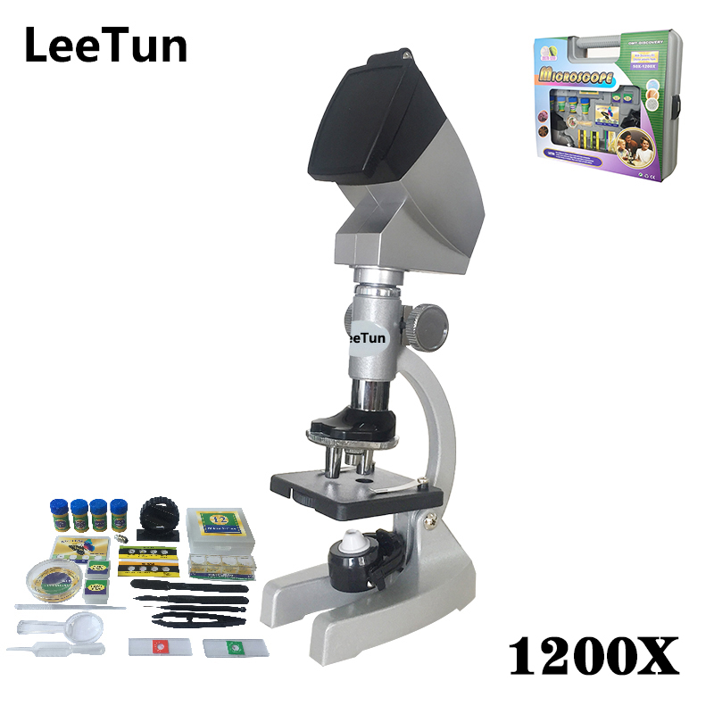 1200X Metal Microscope Children Toys Educational  with Deluxe Packaging Projector Science Education Kits for Children Kids dayan gem vi cube speed puzzle magic cubes educational game toys gift for children kids grownups