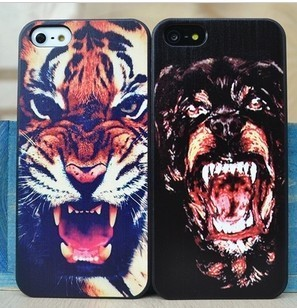 Dog Tiger Shark Dark Print Brand Case Rrotective  Shell for Iphone 5 ,Designer Hard Case Back Cover for iphone 4s,Drop Shipping!