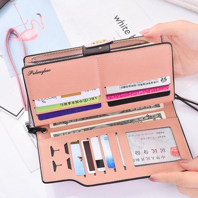 Для женщин кошельки из искусственной кожи кошелек женский кошелек долго кошельки для монет держатели Дамы Бумажник Засов моды Для женщин s портмоне и кошельки