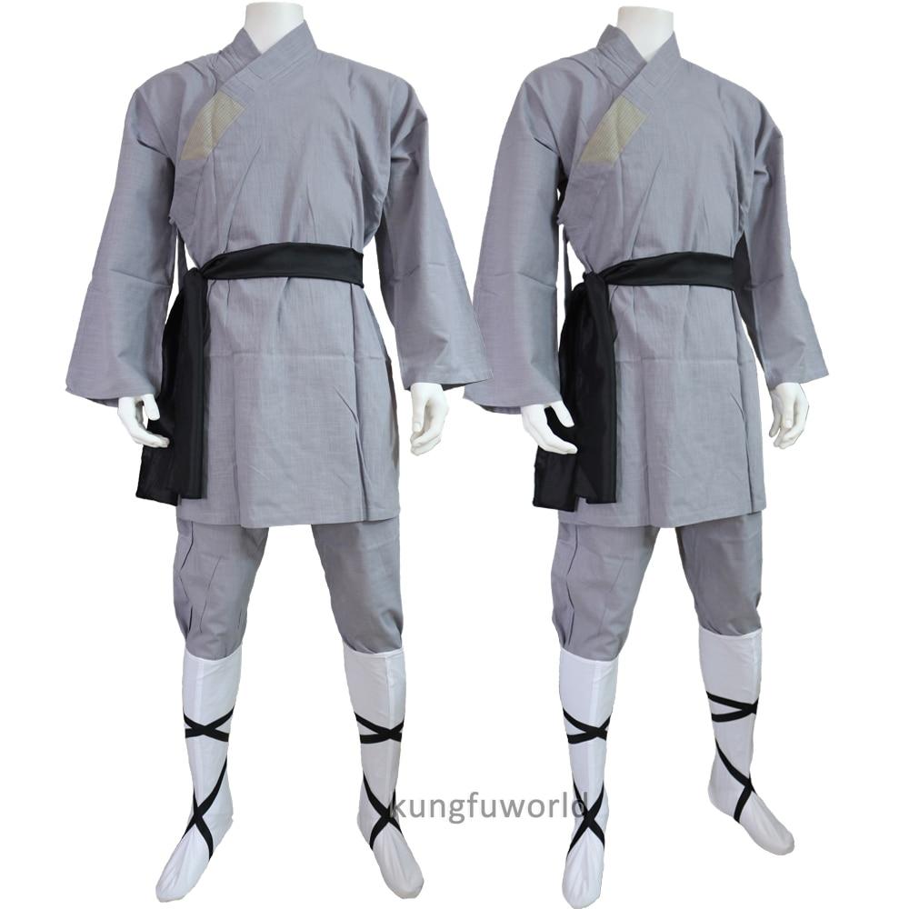 High Quality Cotton Gray Color Shaolin Monk Robe Kung fu Tai Chi Uniform Martial arts Wushu Wing Chun Suit Taekwondo Sets hex titanium step cone drill bit for metal 4 32mm hss4241 high speed steel wood drilling powe tools