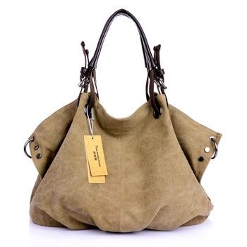 Women Canvas Messenger Bags Female Crossbody Bags Solid Shoulder Bag Fashion Casual Designer Female Handbag Large Capacity Tote 1