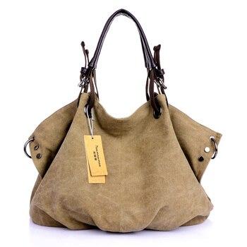 Women Canvas Messenger Bags Female Crossbody Bags Solid Shoulder Bag Fashion Casual Designer Female Handbag Large Capacity Tote
