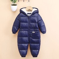 2017 Winter Newborn Baby Girl Boy Hooded Rompers Infant Jumpsuit Duck Down Fluff Toddler Clothes Outwear