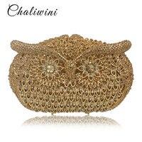 Для женщин Сова Форма вечерние жемчуг бисером сумки дамы золото Свадебная вечеринка сумка Кристалл Золото клатч кошелек с бриллиантами Жен