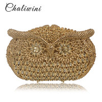 d79f86e81 Women Owl Shape Evening Pearl Beaded Bags Ladies Gold Wedding Party Bag  Crystal Gold Clutch Diamonds
