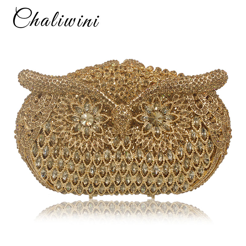 Women owl shape Evening pearl beaded Bags Ladies gold Wedding Party Bag Crystal Gold Clutch Diamonds Purses wallets for bride fashion high quality gold silver pearl beaded floral evening bags full crystal party purse ladies clutch bride bag bridesmaid