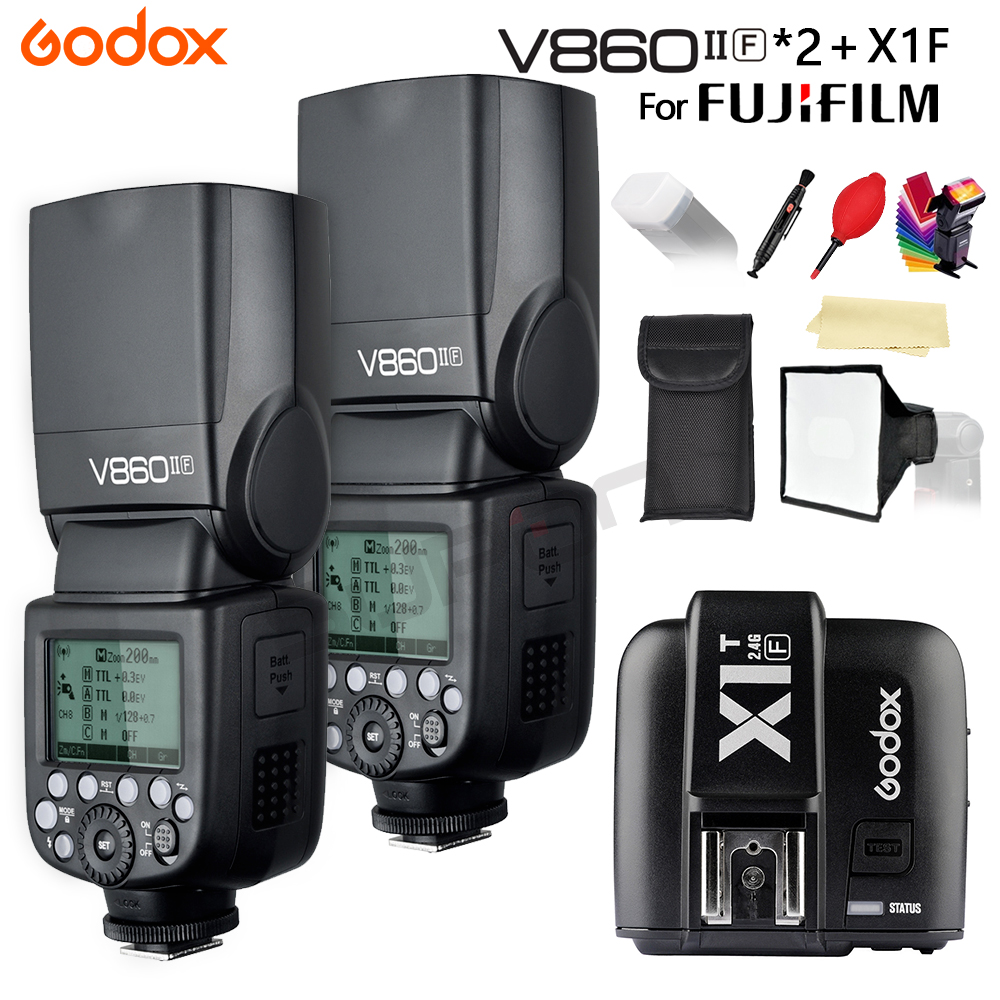 Godox The Flash Speedlight V860II 2 * V860II-F GN60 TTL HSS 1/8000S Li-Battery Camera Speedlite Flash + X1T-F for Fujifilm fuji godox v860ii n v860iin gn60 i ttl hss 1 8000s speedlite flash w li ion battery x1t n flash transmitter optional for nikon
