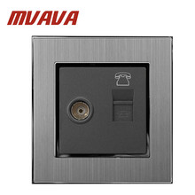 Mvava TV + TEL Socket  Luxury 110-250V Brushed Metal UK EU Standard Television and telphone RJ45 Lan Cable Jack Wall Socket free shipping 86 standard tv and tel wall switch socket panel eu uk television telephone wall socket