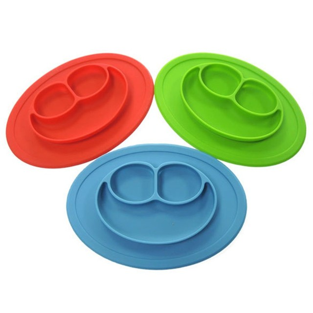 3 Grids Dishes Baby Smile Silicone Dinner Plates Partition Plates ...