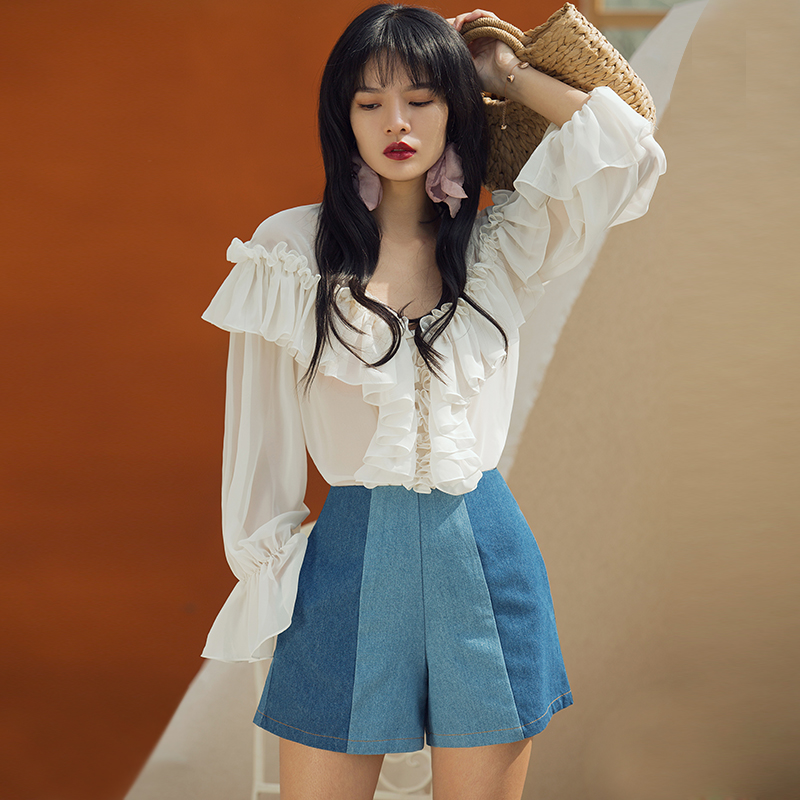 Verragee 2019 New Women Denim Shorts Casual Flared Blue Cotton Short Jeans Summer Shorts With Pockets