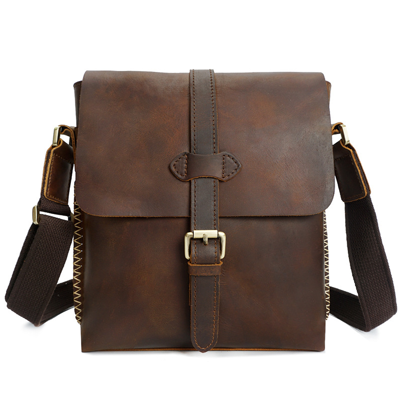 Retro Crazy Horse Genuine Leather Men's Crossbody Handbag Shoulder Sling Bag Business Briefcase Portfolio For Male Man YD8086 joyir men briefcase real leather handbag crazy horse genuine leather male business retro messenger shoulder bag for men mandbag