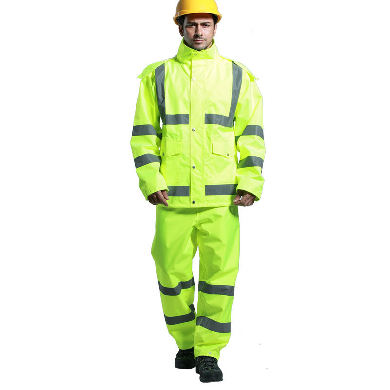 Reflective Raincoat Suit Waterproof Jacket and Pants Sets Hooded Fluorescent Waterproof Clothing Outdoor Safety Warning clothes цена