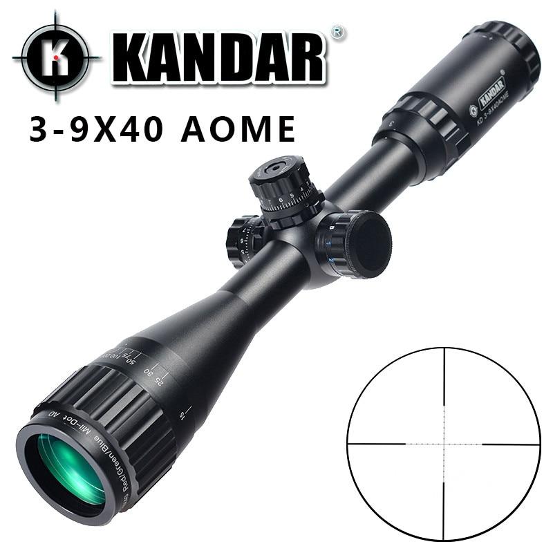 KANDAR 3-9x40 AOE Mil-dot Reticle RifleScope Locking Resetting Full Size Hunting Rifle Scope Tactical Optical Sight