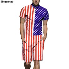 New Design American Flag Print 3D Men Romper 2019 Short Sleeve Jumpsuit Male Casual Hawaiian Beach Party One Piece Rompers 3XL(China)