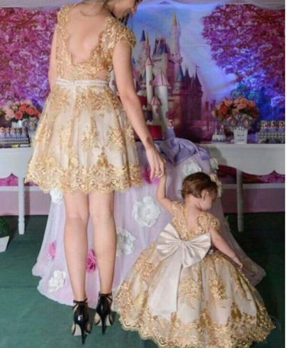 Valentine Gold Embroidered flower Baby Girls Princess Dress Toddler Kids Bow Formal Dresses for Girl Party wedding Wedding