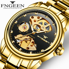 FNGEEN Brand Luxury Gold Watch Men Automatic Mechanical Watches Male Business Hollow Mens Wristwatches Clock Relogio Masculino все цены