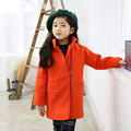 2016 Children Wool Coats For Girls Thicken Warmer Girl Overcoat solid color Kids Winter Fashion Wool Jackets Baby Girl Clothing