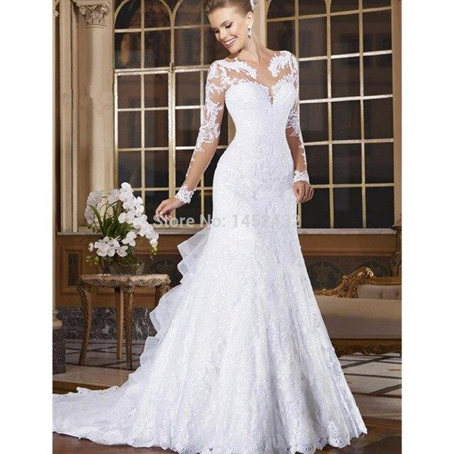 Новый Длинным Рукавом Русалка Свадебные Платья 2017 Vestido Де Noiva Белое Свадебное Платье Плюс Размер Свадебные Платья Молния Назад