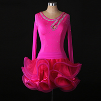 New pink Latin Dance Dress Women blue diamond Salsa Performance Dresses Competition Dance Costume Cha ChaPractice Dress