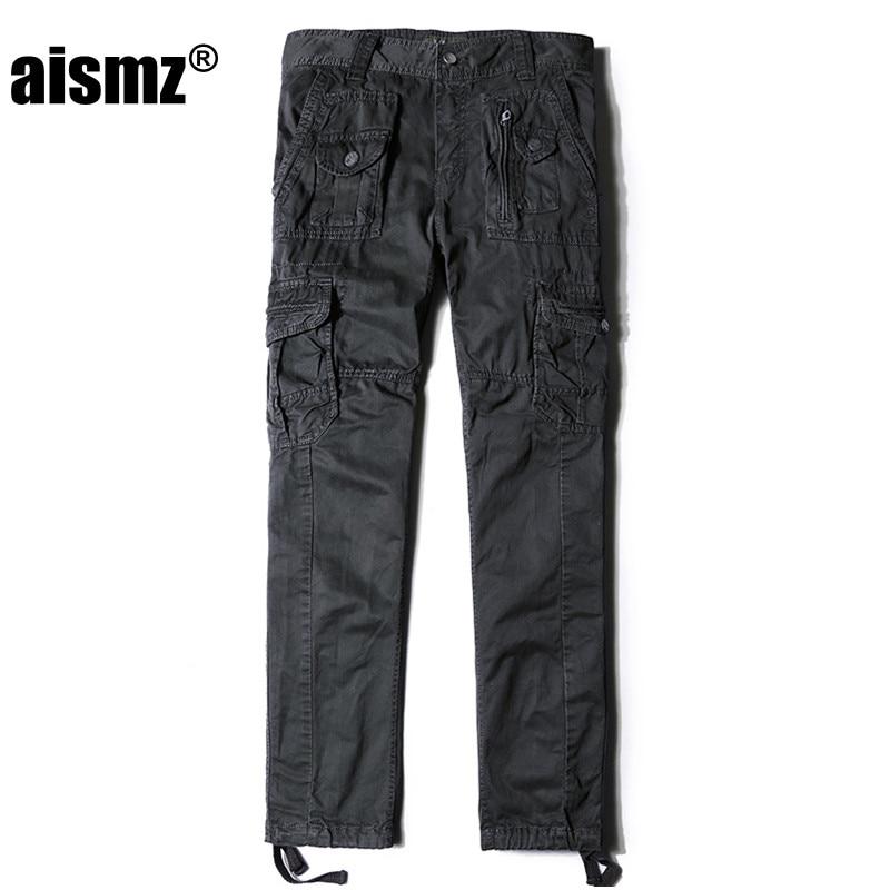 Aismz Tactical Plus Size Cotton Breathable Multi Pocket Military Army Cargo Pants For Men Male Militar Work Trousers 3380