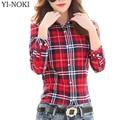Piolho yi-noki mulheres clothing blusa mulheres plus size clothing outono moda casual xadrez de manga longa cardigan feminino blusa tops