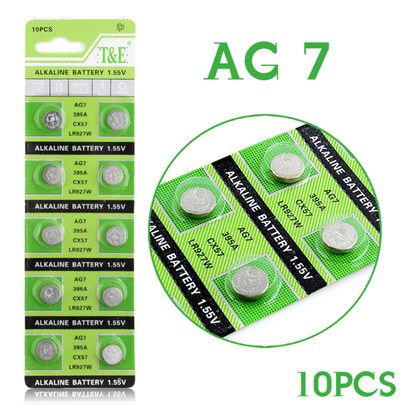 10pcs pack AG7 Button Batteries Cell Coin Alkaline Battery 1 5V GR927 395A For LR927 LR57 SR927W 399 Watch Electronic Toy Remote in Button Cell Batteries from Consumer Electronics
