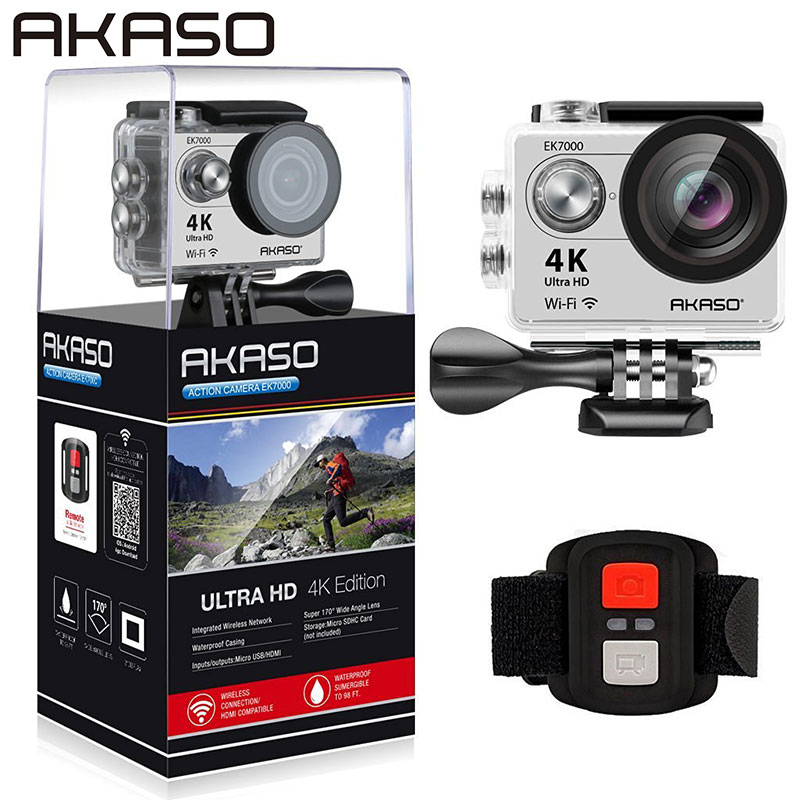AKASO EK7000 4K WIFI Sports Action Camera Ultra HD Waterproof DV Camcorder 12MP 170 Degree Wide Angle Sage/Silver mi happiness red bride wedding hair tiaras gorgeous hair jewelry hanfu costume hair accessory